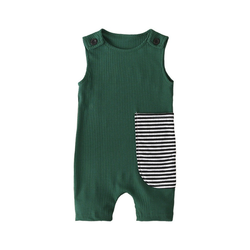 Newborn Infant Kids Baby Girls Boys Sleeveless Rib Striped Jumpsuit Clothes