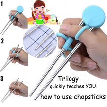 Load image into Gallery viewer, 1 Pair Children Training Chopsticks Stainless Steel Practice Chopsticks Infant Early Education Training Tableware Beginners Practice Chopsticks