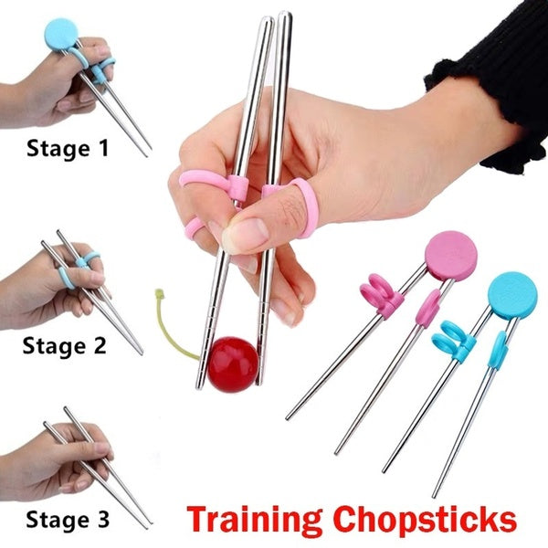 1 Pair Children Training Chopsticks Stainless Steel Practice Chopsticks Infant Early Education Training Tableware Beginners Practice Chopsticks