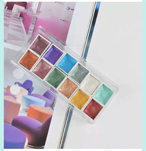 Load image into Gallery viewer, Splendi Brand 12 Colors Pearlescent Solid Watercolor Paints Set Artist Pearl Color Watercolor Pigment Glitter Colors Suit Art Supplies