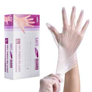 SAFEYEAR Disposable Vinyl Gloves 100pcs Anti-virus Power-free Latex-free [<safetoe_ppe>]