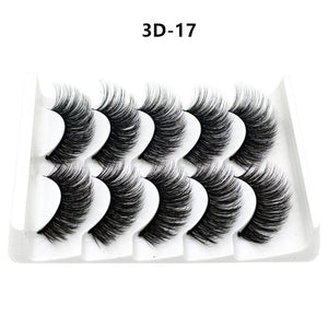 Mink eyelashes 5 pairs of handmade 3d mink lashes natural eyelashes extended beauty makeup false eyelashes