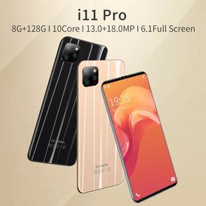 NEW i11 Pro 4G Smartphone 6.1 Inch Full Screen 8GB RAM+128GB ROM Large Memory Face Unlock Android 9.1 Octa Core Cellphone Dual SIM Cards Support T Card Smart Phones