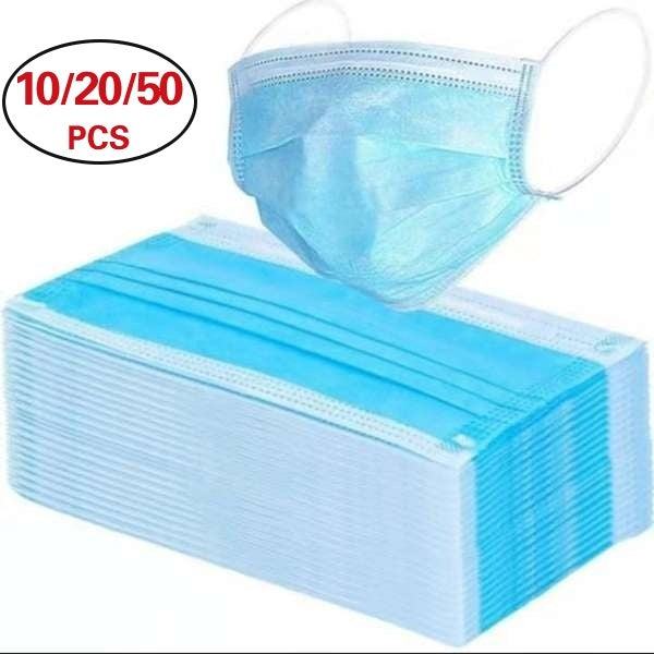 50/20/10/5/1Pcs Disposable 3-Layer Masks, Anti Dust Breathable Disposable Earloop Mouth Surgical Face Mask Medical Mask