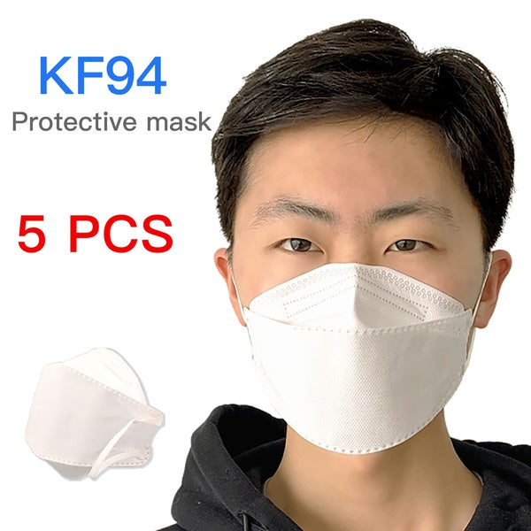 5 Pcs KF94 / N95 / KN95 Face Mask 4 Layer Non-woven Breathable Anti Dust Mouth PM2.5 Men Women Mask