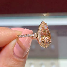 Load image into Gallery viewer, 14K Rose Gold Natural Morganite and CZ Halo Ring Pear Shape Art Deco Antique Engagement Ring Birthstone Rings for Women Promise Rings for Women White Gold Size 6 -10
