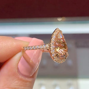 14K Rose Gold Natural Morganite and CZ Halo Ring Pear Shape Art Deco Antique Engagement Ring Birthstone Rings for Women Promise Rings for Women White Gold Size 6 -10