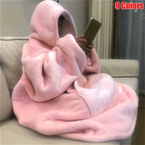 Ultra Plush Blanket Hoodie Soft and Warm Blanket Hooded Robe Spa Bathrobe Sweatshirt Fleece Pullover Blanket