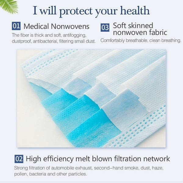 50/20/5Pcs 3-Ply Disposable Face Mask, Dust Mask Flu Face Masks with Elastic Ear Loop for All People(Blue)