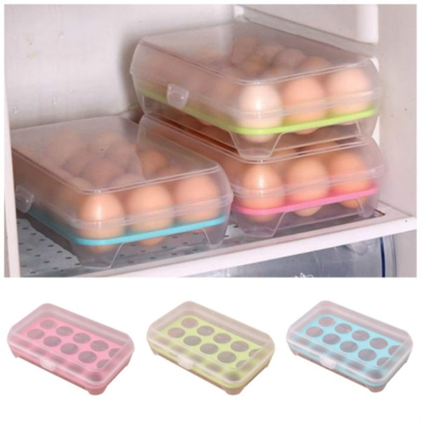 Portable 15 Grids Plastic Eggs Storage Box for Kitchen Supplies Home Accessories 24x15x7cm