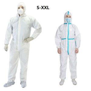 White Safety Coverall Isolation Suit Disposable Full Protective Clothing Elastic OUT