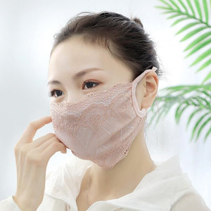 Breathable Mouth Mask Women Girl Lace Cotton Mask Bacteria Proof Anti-pollution Mask Cycling Windproof Anti-Dust