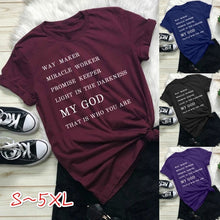 Load image into Gallery viewer, Women Fashion Casual Christian Jesus God Letter Print Easter Shirt Faith Religion Tshirt Tee Women