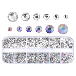 12grid/case Nail Rhinestone AB Clear Crystal Strass 3D Nail Charms Flat Back Gems Stones  Flakes Diamond Manicure Decoration DIY