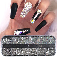 Load image into Gallery viewer, 12grid/case Nail Rhinestone AB Clear Crystal Strass 3D Nail Charms Flat Back Gems Stones  Flakes Diamond Manicure Decoration DIY