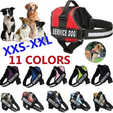 Load image into Gallery viewer, New Fashion Comfortable Service Dog Strap with Pet Training Vest Reflective Patch for 12 Colors of Large Medium and Small Dogs large breed pet dog harness and leash(Size:XXS-XXL)
