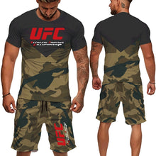 Load image into Gallery viewer, New Fashion UFC Tracksuit Mens Camouflage Green Printed T-shirt Shorts Pants 2 Pcs Set Sport Suit