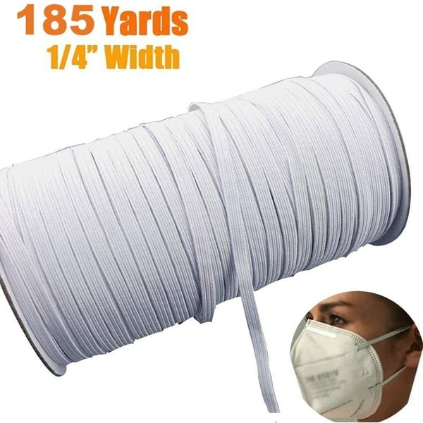 DIY Mask 185 Yards Length 1/4 Inch Width Braided Elastic Band White Elastic Cord Heavy Stretch High Elasticity Knit Elastic Band for Sewing Crafts DIY, Mask, Bedspread, Cuff