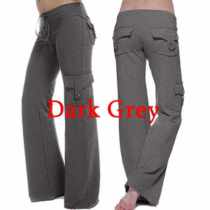 Women Loose Pocket Stretch Drawstring Button Casual Yoga Pants Sweatpants Plus Size