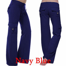Load image into Gallery viewer, Women Loose Pocket Stretch Drawstring Button Casual Yoga Pants Sweatpants Plus Size