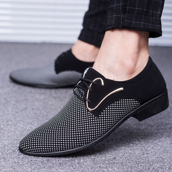 Plus Size Business PU Leather Shoes Men Breathable Rubber Formal Dress Shoes Male Office Wedding Flats Footwear Mocassin Homme