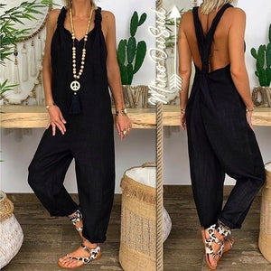 Ladies Fashion Loose Flax Backless Overalls Wide Leg Tied Bandwidth Jumpsuits Loose Pants S-5XL