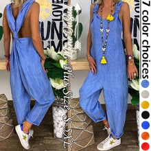 Load image into Gallery viewer, Ladies Fashion Loose Flax Backless Overalls Wide Leg Tied Bandwidth Jumpsuits Loose Pants S-5XL