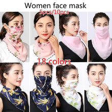 Load image into Gallery viewer, 5pcs/10pcs Women Floral Sun Protective Chiffon Face Neck Mask Outdoor Face Mask Anti-UV Face Mask(18 Colors)
