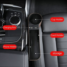 Load image into Gallery viewer, 1/2pcs Car Seat Gap Organizer Storage Box PU Leather Auto Seat Crevice Side Slit Stoweing and Tidying Key Phone Cups Holder