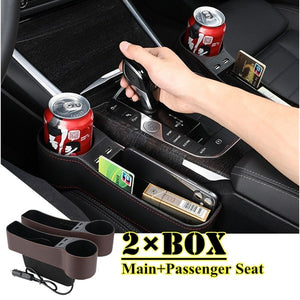 1/2pcs Car Seat Gap Organizer Storage Box PU Leather Auto Seat Crevice Side Slit Stoweing and Tidying Key Phone Cups Holder