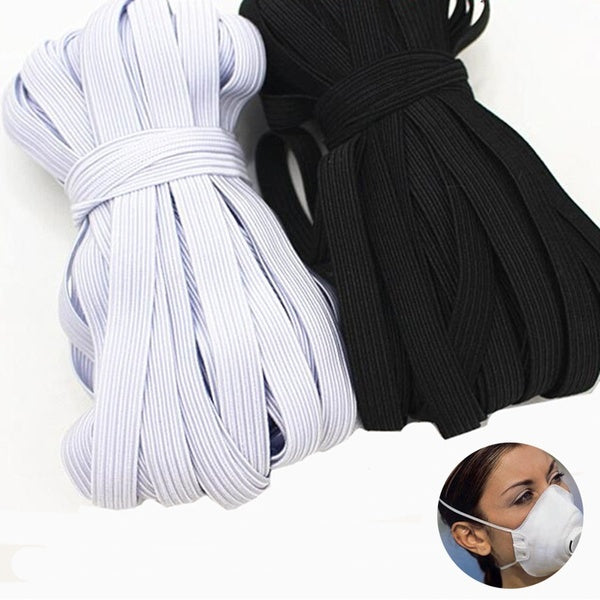 10meters Length 3/4/5/6/8/10/12mm Width Braided Masks Elastic Band White Elastic Cord Heavy Stretch High Elasticity Knit Elastic Band for Sewing Crafts DIY,Mask,Bedspread,Cuff