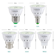 Load image into Gallery viewer, E27 B22 UV Desinfection Lamp LED Sterilizer Lamp LED UVC Germicidal Bulb Ultraviolet Light 48 60 80leds