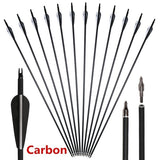 12 PCS High Quality Carbon 30\\ Archery Carbon Target Arrows Hunting Arrows with Adjustable Nock and Replaceable Field Points for Compound Bow or Recurve Bow