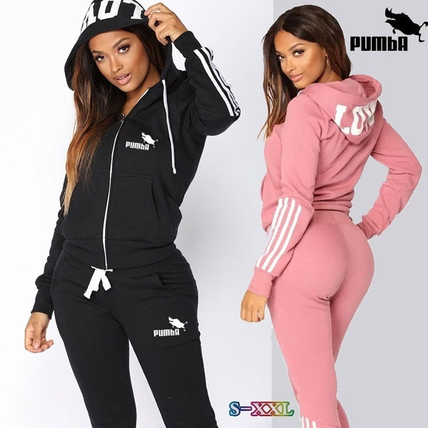 Fashion WomenSportswear Suit  Hooded Sweatshirts + Long Pants