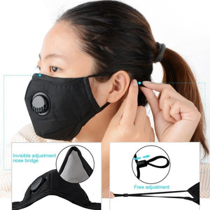 2pcs Dust Mask N95 Protection Allergies Adjustable Masks with 30 Filters