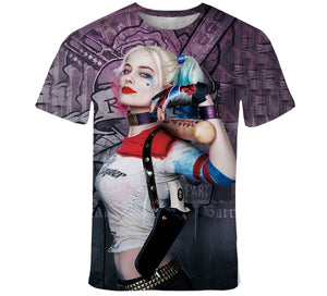 2020 Summer 3D Print Harley Quinn Joker Men and women  Hipster  t shirt