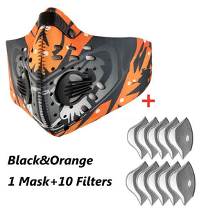 1PC Mask with 10 Filters Sports Face Mask Anit-fog Breathable Dustproof Bicycle Respirator Sports Protection Mouth-Muffle Dust Mask
