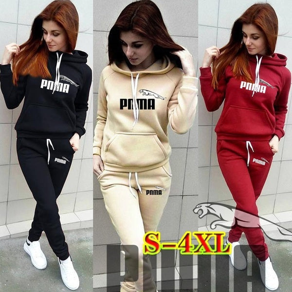 Women Fashion Printing Sportsuits Two Piece Suits Lady Long Sleeve Fashion Hooded Sweatshirts  Long Pants