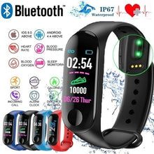 Load image into Gallery viewer, M3 Color Smartband Waterproof Smart Bracelet Heart Rate Blood Pressure Monitor Sport Pedometer Sedentary Reminder Fitness Tracker Smart Wristband for IOS Android Phone