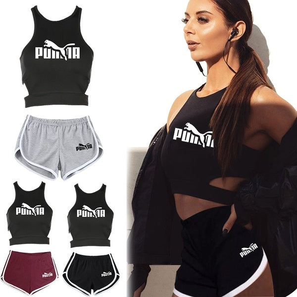 Summer Funny Printed Women Clothes Set Vest Sport T-shirt and Short Pants Casual Tops and Yoga Fitness Shorts