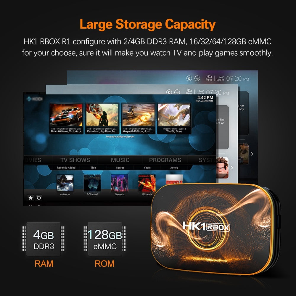 HK1-R1 Android 10.0 Smart TV BOX , 4K HDR Resolution 4GB RAM 64GB ROM , RK3318 Chip Quad Core 64-bit , 2.4Ghz+5Ghz WIFI BT4.0 HDMI2.0 USB3.0 Support TF Card
