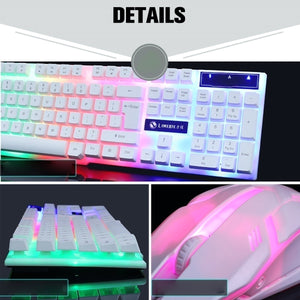 New Glowing Keyboard Mouse Combo USB Wired RGB Backlight Desktop Keyboard Mouse Gaming for PC Laptop Gamer Usbplug Fortressnight Computer Mechanical Keyboards or Mouse