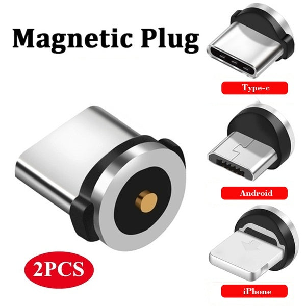 Round Magnetic Cable Plug Micro USB Type-C Plugs Charging Adapter Magnet Charger Cord Plug