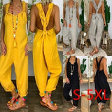Women Fashion Loose Flax Backless Overalls Ladies Wide Leg Tied Bandwidth Jumpsuits Loose Pants XS-5XL