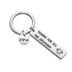 Romantic Funny Gift for Boyfriend Husband Engraved Keychian I Love You Naughty Gift