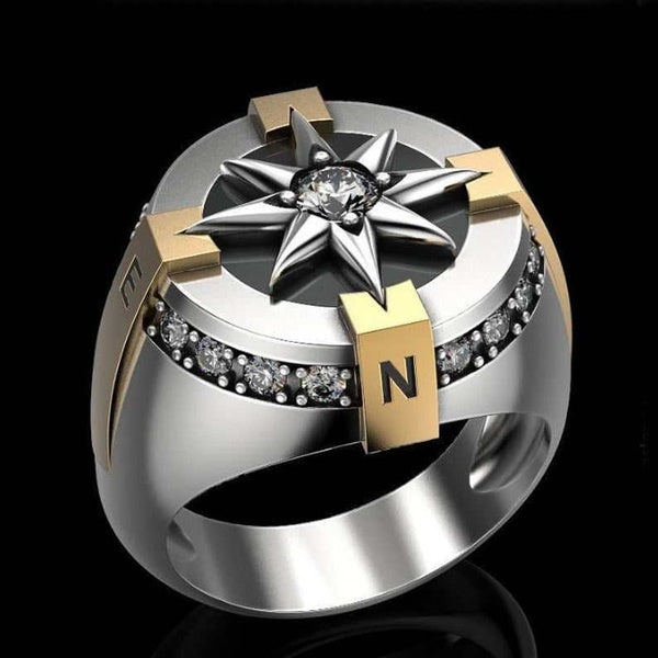 High Quality Men's Luxury Jewelry Boutique Stainless Steel Two-color Plating 18K Gold Natural White Sapphire Diamond Compass Ring Birthday Punk Commemorative Gift Size 7-13 Gifts for Boyfriend and Father