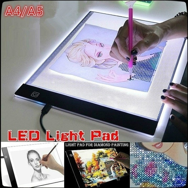 For 5D Diamond Painting A4/A5 Size LED Light Pad - Dimmable Light Board Kit, Apply to Full Drill & Partial Drill Tracing Board Copy Pad Drawing Tablet Adjustable Brightness, with USB Powered Projector Kit