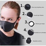 6PCS Pollution Mask Military Grade Anti Air Dust and Smoke Pollution Mask with Adjustable Straps and a Washable Respirator Mask Made For Men Women(In Stock)