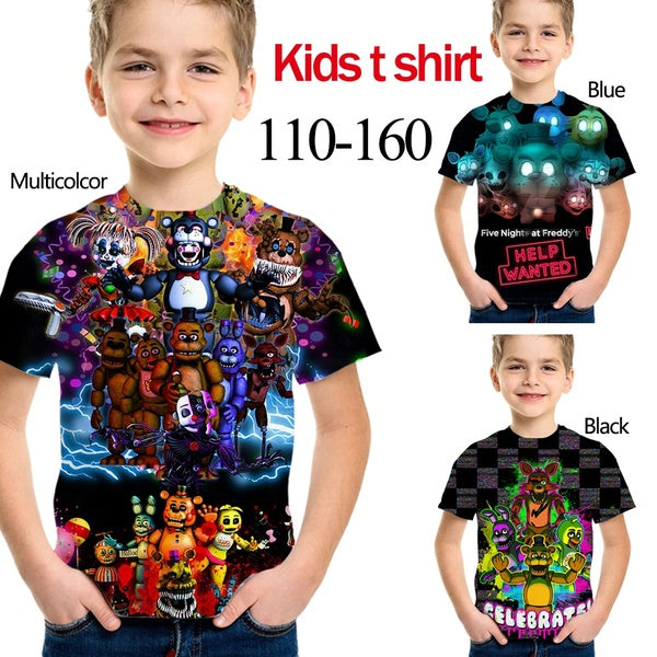 New Fashion FNAF Five Nights At Freddy's Boys Girls Unisex Clothes Kids Tees Clothing Children T-shirts