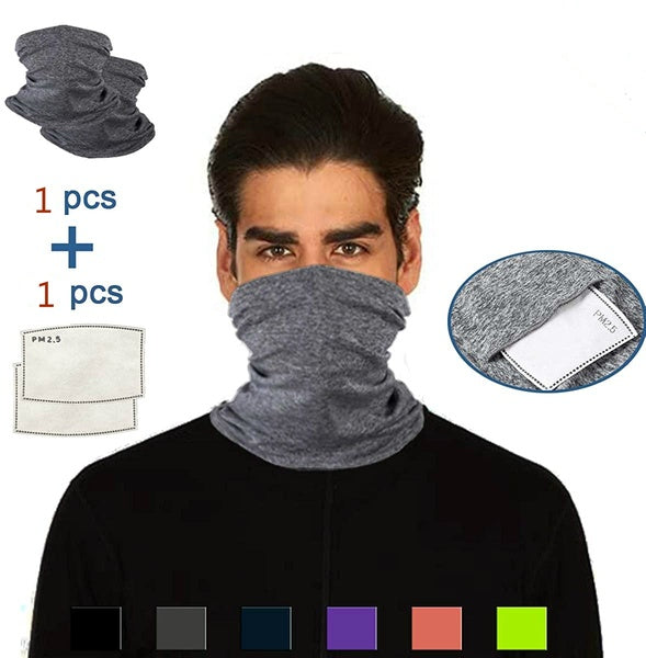Neck Gaiter with Safety Carbon Filters, Multi-Purpose Headwear Sports-Headbands, Breathable Face Cover Bandanas Balaclava for Sports/Outdoors/Festivals